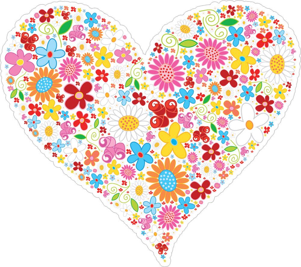 Наклейки Сердце из цветов, дизайн #06606