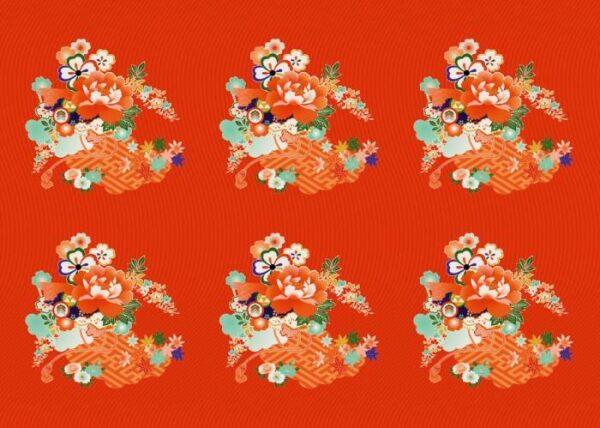 Японские панели Красные цветы