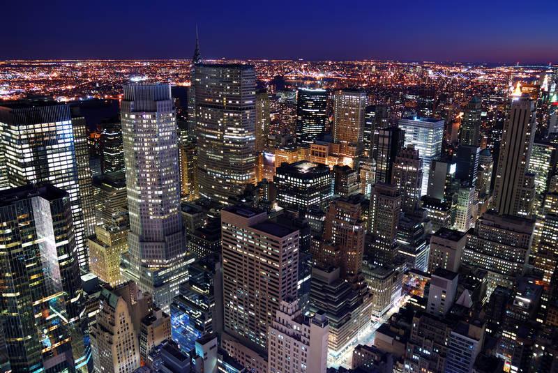 Печать на холсте дизайн Мегаполис ночью