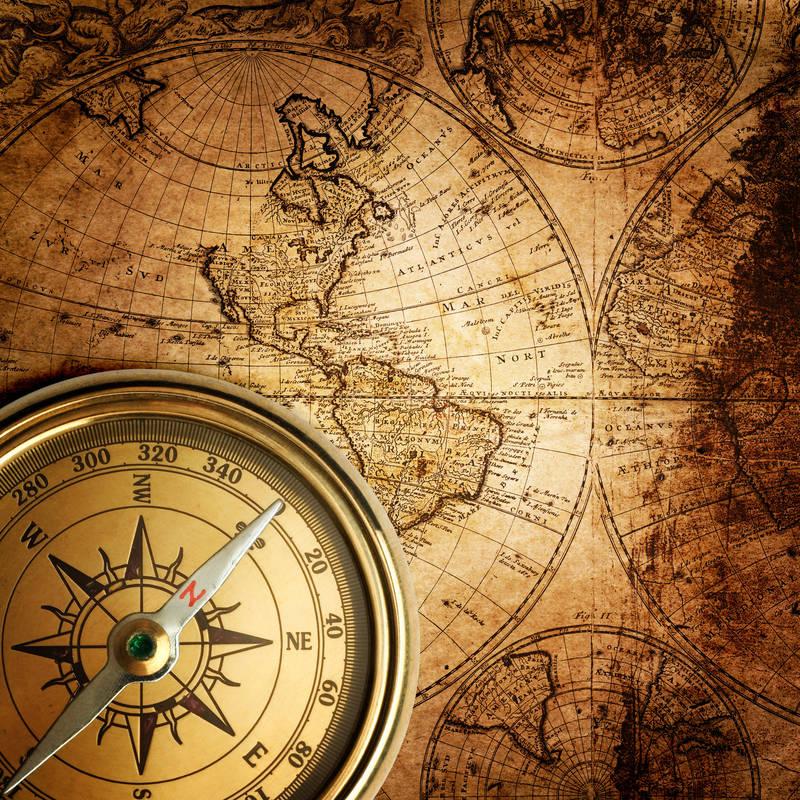 Японские панели Старая карта и компас