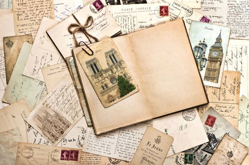 Печать на холсте Старые записи и фотографии