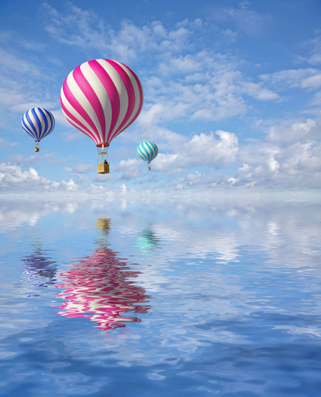 Римские шторы Воздушные шары над морем