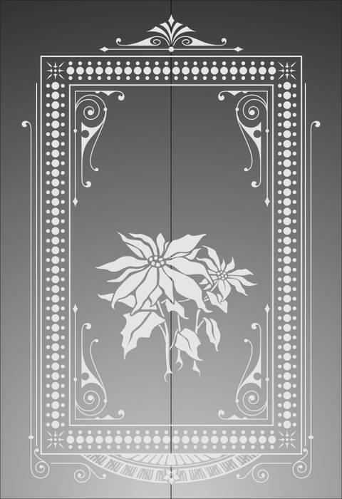 Матирование стекла Цветы в рамке