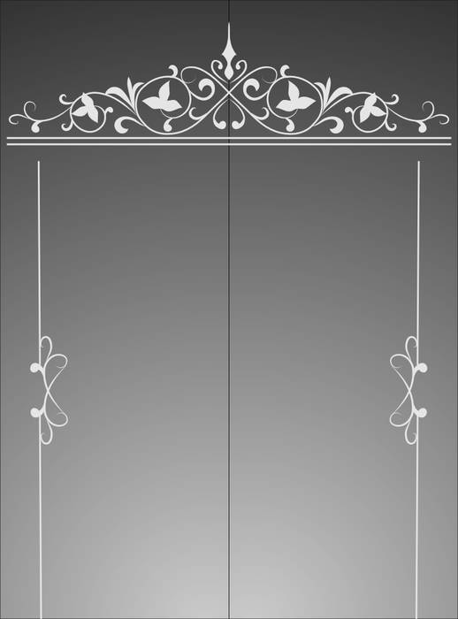 Матирование стекла Узорная рамка