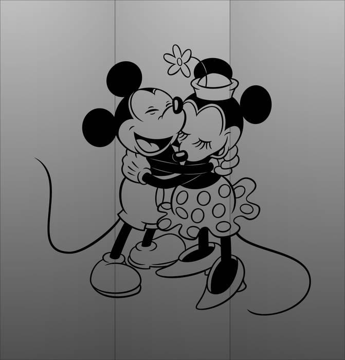 Матирование стекла Микки и Минни