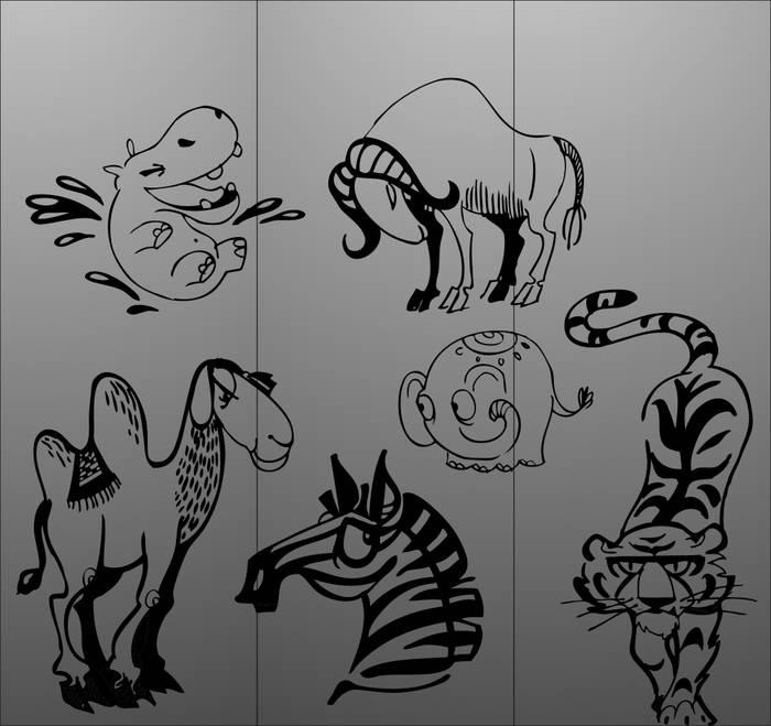 Матирование стекла Зоопарк