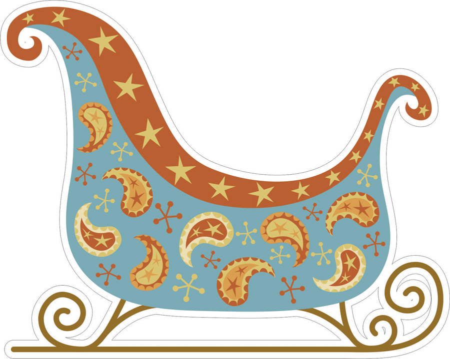 Наклейки Рождественская коляска, дизайн #06488
