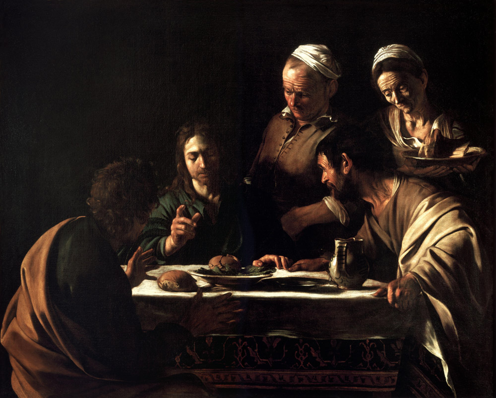 Римские шторы Караваджо Христос в Эммаусе, дизайн #06804