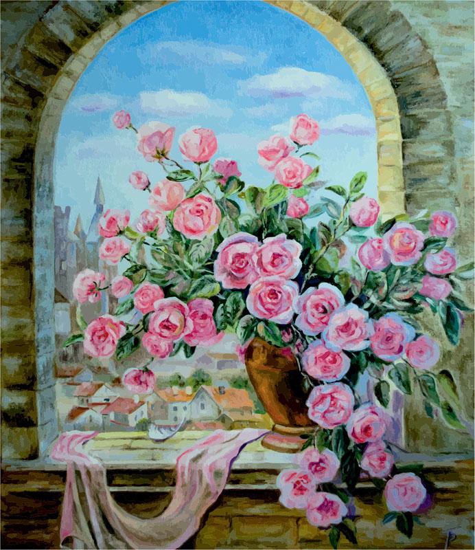 Римские шторы Ваза цветов, дизайн #07018