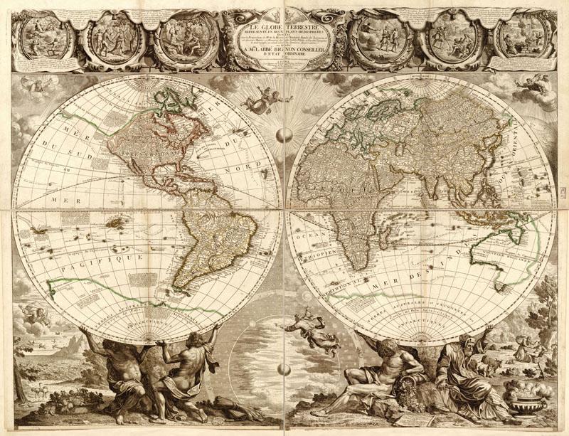 Японские панели Старинная карта, дизайн #07465