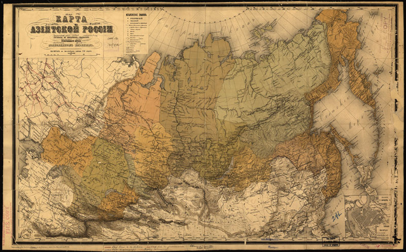 Японские панели Старинная карта азиатской России, дизайн #07466