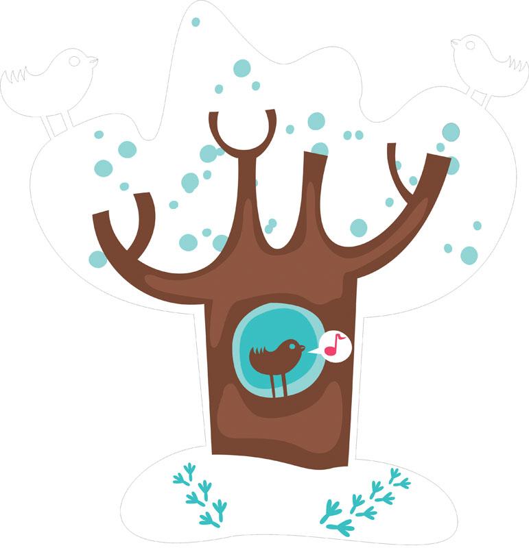 Наклейки Зимнее дерево, дизайн #07817