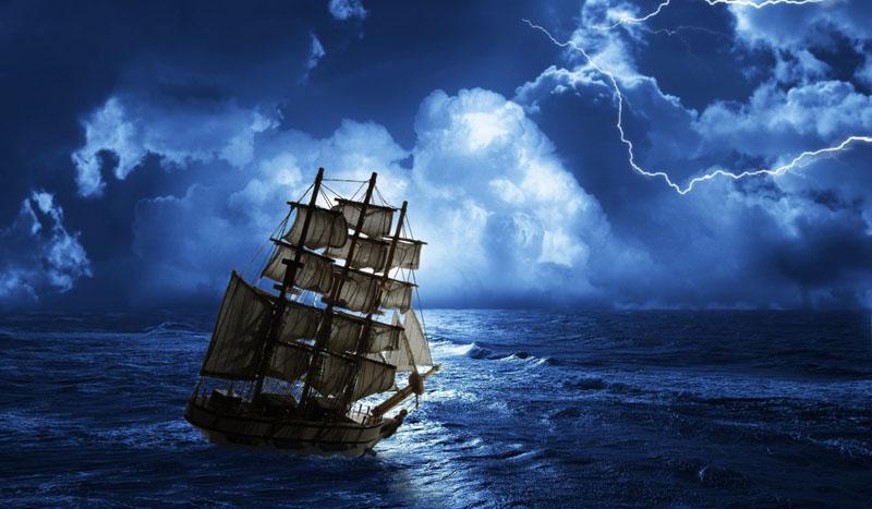 Японские панели Корабль в шторм, дизайн #08183