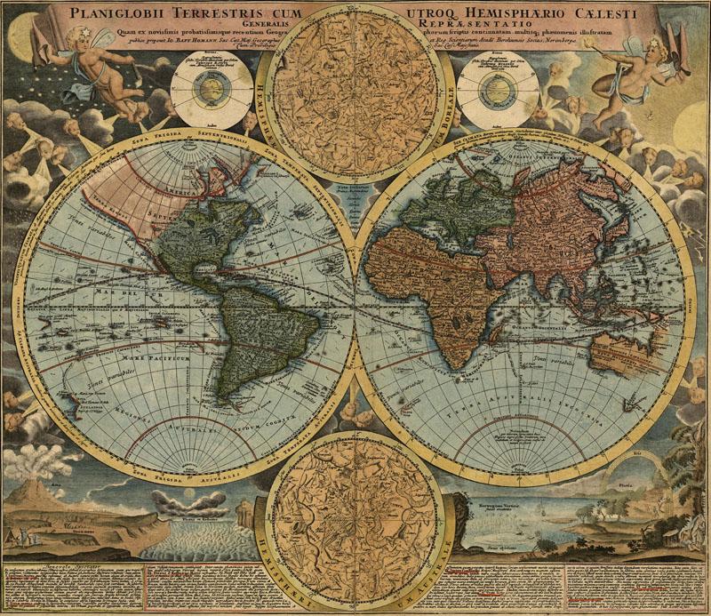Фотообои под заказ Древняя карта мира, дизайн #08277