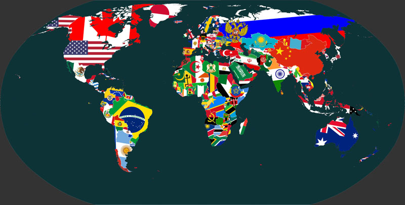 Японские панели Флаги мира, дизайн #08850